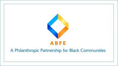 "ABFE Logo - blue and yellow diamond - ""Philanthropic Partnership for Black Communities"""