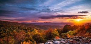 Image of the Shenandoah Valley at sunset
