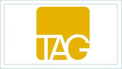 TAG logo (white text on an orange background)