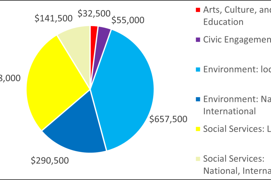 Breakdown by category of 2009 grants: 32500 Arts, Culture, and Education 55000 Civic Engagement 657500 Environment: local 290500 Environment: National, International 448000 Social Services: Local 141500 Social Services: National, International