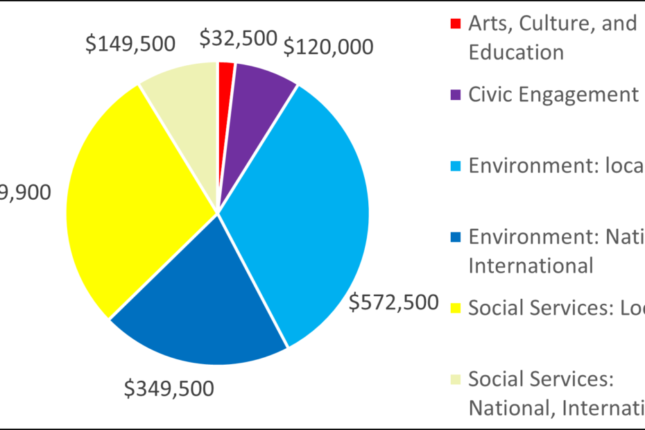 Pie chart showing breakdown by category: 32500 Arts, Culture, and Education 120000 Civic Engagement 572500 Environment: local 349500 Environment: National, International 489900 Social Services: Local 149500 Social Services: National, International