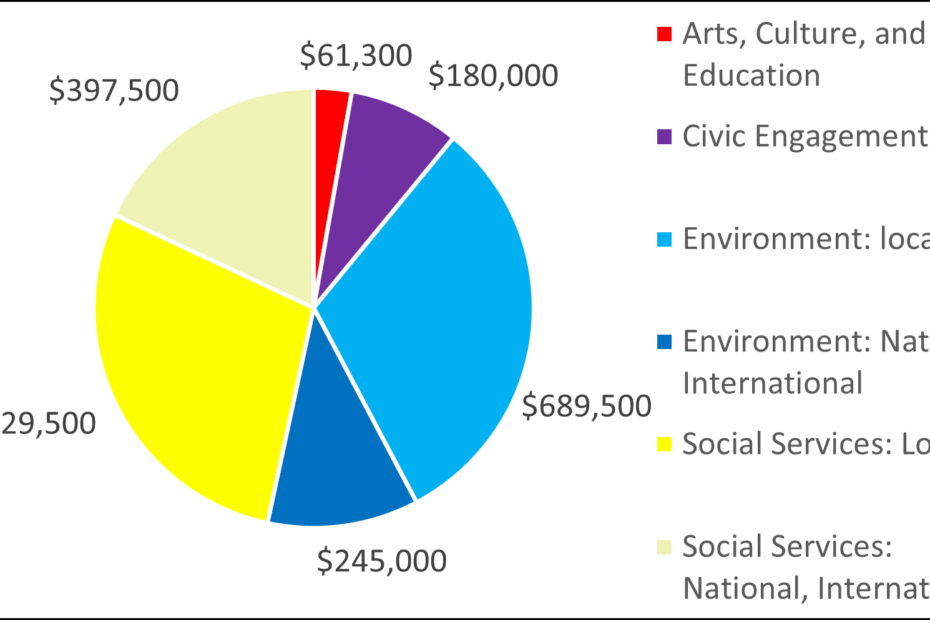 Pie chart with breakdown by category: 61300 Arts, Culture, and Education 180000 Civic Engagement 689500 Environment: local 245000 Environment: National, International 629500 Social Services: Local 397500 Social Services: National, International