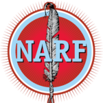 NARF Logo with NARF and a single feather on a red background